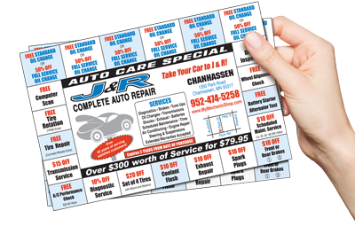 Special punch card offer from J&R complete auto repair - Chanhassen MN
